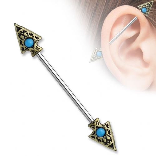 Tribal Spear Industrial Scaffold Piercing Bar with Turquoise Set Balls